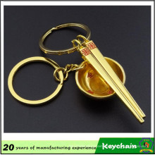 3D Gold Color Bowl and Chopsticks Key Chain for Lovers