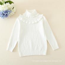 suéter de algodón puro de las muchachas del bebé / suéter del cordón de las muchachas de los niños