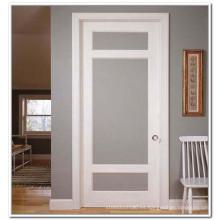 Puerta interior de color blanco, puerta francesa con vidrio esmerilado, puerta de vidrio para inodoro S1-1009