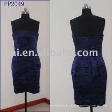 Sexy azul marino terciopelo plisado corto vestido de baile PP2049