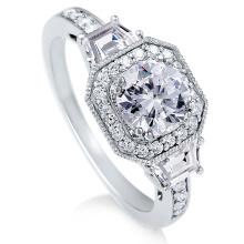 Кольцо из стерлингового серебра Круглое циркониевое кольцо CZ