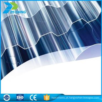 Papel anti-arranhões de alta qualidade Folha de policarbonato ondulado de 0,8 mm para cobertura