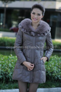 Genuine Leather Fur Coat for Women (CW8352)