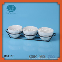white ceramic bowl set , custom design ceramic snack bowl , restaurant used ceramic bowl set