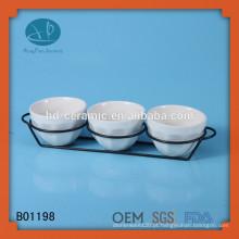 Conjunto de tigela de cerâmica branca, projeto personalizado tigela de cerâmica de lanche, restaurante usado tigela de cerâmica conjunto