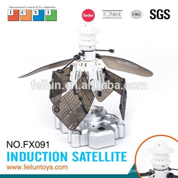 Creative infrared controlled intelligent sensing satellite rc flying toy plane for girl