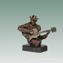 Bustos Brass Statue Guitarist Decoration Bronce Escultura Tpy-763