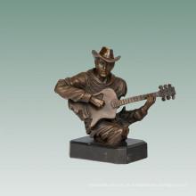 Bustos Brass Statue Guitarist Decoração Bronze Escultura Tpy-763