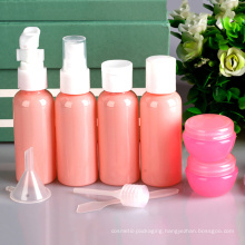9 Piece Set Pink Plastic Travel Set, Pump Sprayer Bottle (PT03)