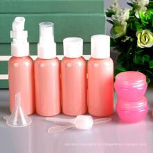 Grupo de viagem plástico cor-de-rosa ajustado de 9 partes, garrafa do pulverizador da bomba (PT03)