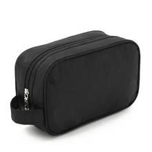 Lady Fashion Black Nylon Clutch Cosmetic Wash Toiletry Bag (YKY7514)