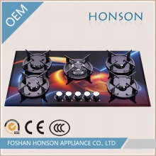 Hot Sell Fashion Glass Top 5 Burner Cookers Gas