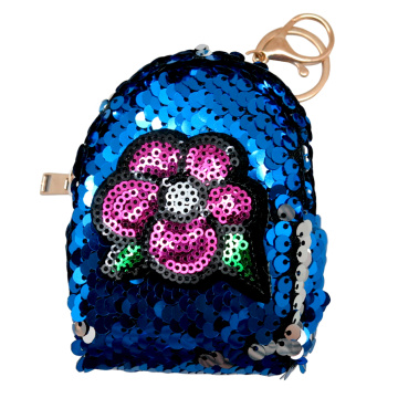 FLOWER SEQUIN COIN PURSE KEYRING-0