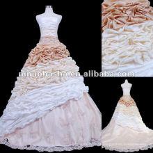 Tafetá Ruffle Skirt Vestido de casamento de amostra real