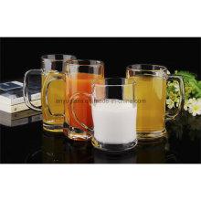 Neuer Entwurfs-Blei-freies Glas-Bier-Becher Saft-Becher mit Handgriff