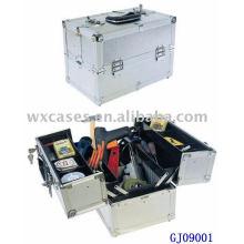 boîte à outils en aluminium forte 2014 avec 4 plateaux en plastique & compartiments réglables sur le fond de boîtier de Chine manfacturer