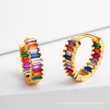 Handmade Copper Gold Plated Zirconia Earrings Classical Rainbow Student C-Shaped Stud Earrings