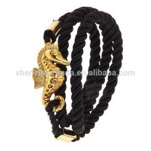 Wholesale Fashion Men Stainless Steel Accessories Jewelry Gold Sea Horse Bracelet with Sailor Anchor Black Rope Bracelet