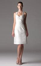 Empire Sheath Column Halter Knee-length Taffeta Ruffled Wedding Dress