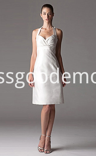 Empire Sheath Column Halter Knee Length Taffeta Ruffled Wedding Dress