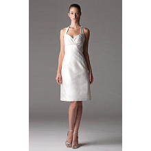 Empire Sheath Column Halter Knee-length Taffeta Ruffled Wedding Dress