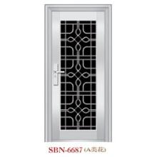 Puerta de acero inoxidable Puerta de metal Puerta de entrada de vidrio templado (SBN-6687)