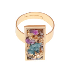 18-каратного золотого цвета с натуральным обручальным кольцом Drusy Crystal Ring