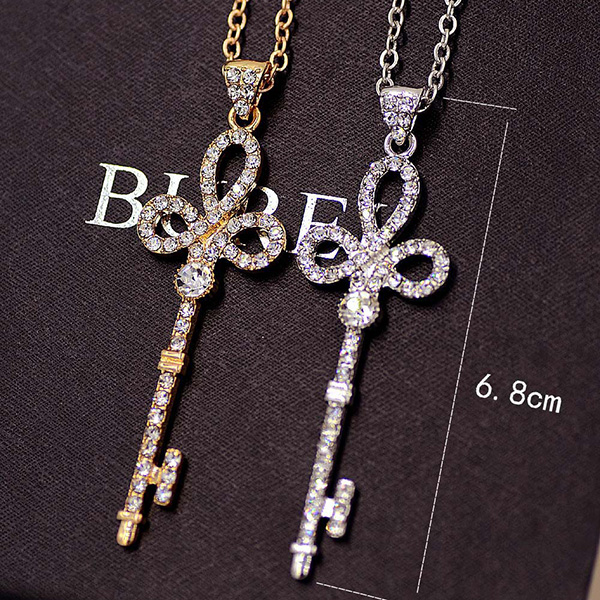 Chain Silver Plated Key Necklace For Lady