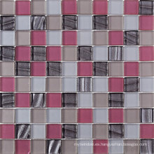 Espesor americano 8mm Cristal Rosa Craqueado Mosaico De Vidrio Azulejo