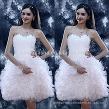 2014 Exquisite White Ball Gown Homecoming Dress Sweetheart Pleated Bodice Ruched Skirt Short Organza Graduation Gown NB0840