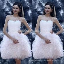 2014 vestido requintado de vestido de baile branco vestido de casamento Vestido de graduação de organza curto com bainha plissada Vestido de graduação de organza curto NB0840