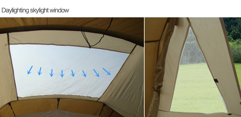 Two Rooms Hiking Tunnel Tent skylight