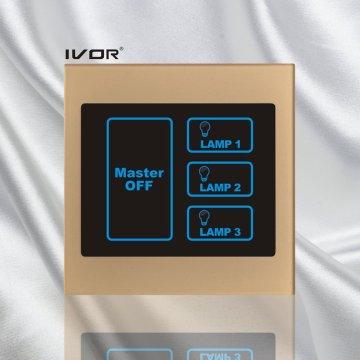 Interrupteur tactile d'éclairage de 3 jambes avec cadre acrylique de commande principale (SK-LT100L3-M)