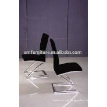 Black cloth dining chair with stainless steel legs