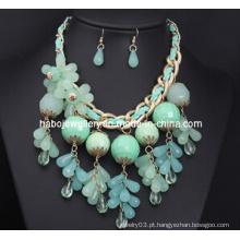 Conjunto de colar de flor azul / conjunto de jóias de moda