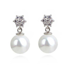Pearl One Sided Ball Beads Ear Stud Plug Earrings