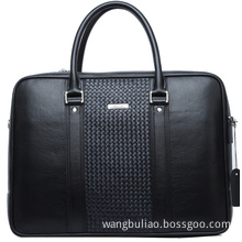 Fashion Cowhide Leather Woven Pattern Business Laptop Bag (114-11501-2)