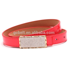 kids Fashion PU waist belt for dressing with stone flat buckle
