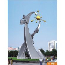 Caso de éxito Escultura de arte abstracto de acero inoxidable / estatua de gran paisaje moderno