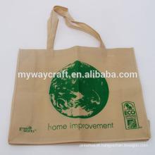 Bolsa de compras ecológica verde não tecida