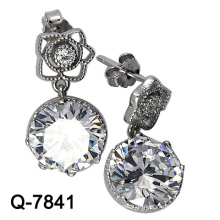 Fashion Jewelry 925 Silver Big CZ Stone Earrings (Q-7841)