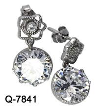 Ювелирные изделия способа 925 серебряные большие серьги камня CZ (Q-7841)
