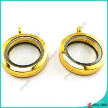 Настоящая Золотая круглая равнина с плавающей медальон Кулон ювелирные изделия (FL16041942)