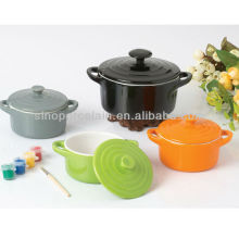 color glazed Round ceramic casserole for BS12076