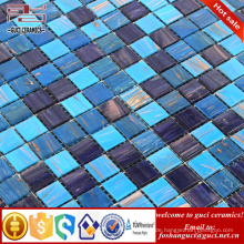 China-Fabrik blaue gemischte Goldlinie heiß - schmelzen Sie Mosaikwandfliesen-Bodenfliese