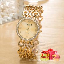 Nuevo reloj de aleación de lujo ahueca hacia fuera el reloj de la elegancia de la correa del reloj del cuarzo Reloj especial de los regalos de Cestbella