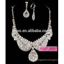 hot sale wedding diamond crystal best design necklace set
