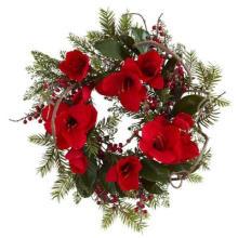 24in Große Amaryllis Kranz mit Seide Rot Große Blumen Nicht-Lit (MY310.245.00)