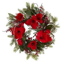 24 polegadas. Grinalda de amaryllis grande com seda Red Big Flowers Non-Lit (MY310.245.00)