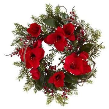 24 pulg. Gran corona de amaryllis con flores rojas de seda no-Lit (MY310.245.00)
